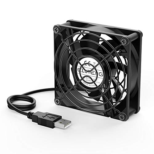ELUTENG PC Fan 5V USB Fan 80mm Dual Ball Bearing Silent Cooling Fan Small USB Ventilator Radiator for Router/TV Box / PS4 / PS3 / Xbox/Laptop/Mini PC/Water Fish Tank