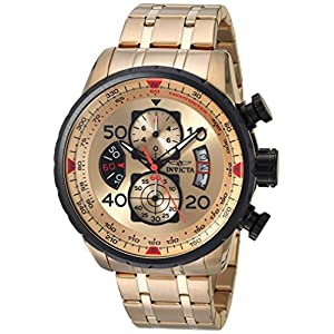 Invicta Men's Aviator 48mm Gold Tone Stainless Steel Chronograph Quartz Watch, Gold (Model: 17205)