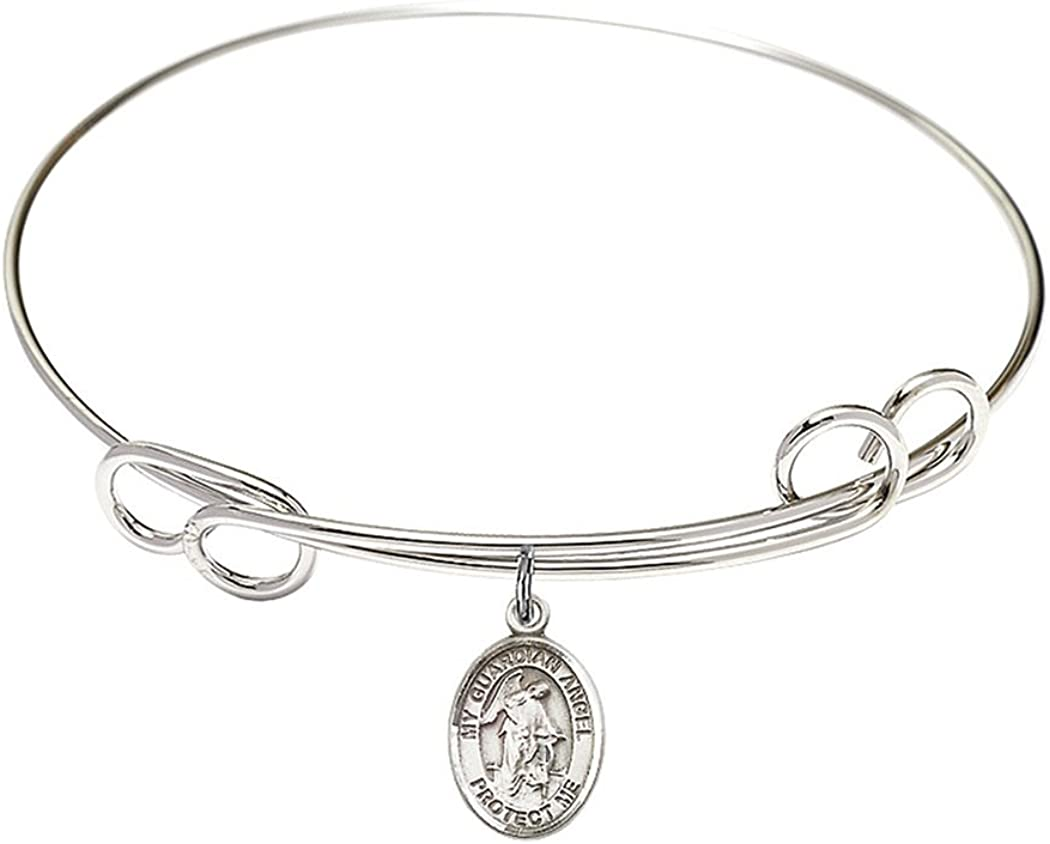 Rhodium Plate Double Loop Bangle Bracelet Max 69% OFF New product!! Pr with Angel Guardian