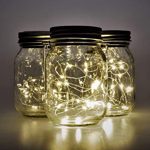 Gadgy ® Lanterna Solare Barattolo di Vetro Set Luci Fatate   3 Pz   20 Led's Luce Calda Bianca   Lanterne Illuminazione   Esterno Interno Giardino