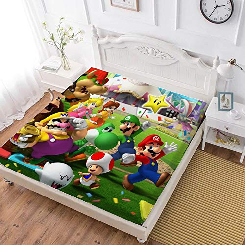 Fitted Sheet,Mario Luigi Princesse Peach Daisy Yoshi Bowser (1),Soft Wrinkle Resistant Microfiber Bedding Set,with All-Round Elastic Deep Pocket, Bed Cover for Kids & Adults,twin (47x80 inch)