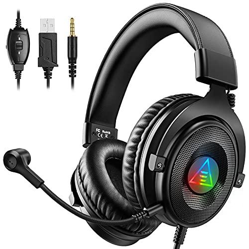 EKSA Gaming Headset für PC PS5 PS4 Xbox One RGB Gaming Kopfhörer mit abnehmbarem Rauschunterdrückung Mikrofon für Laptop Mac Handy Tablet E900