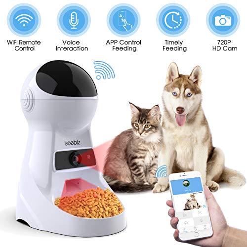 Iseebiz Comedero Automatico Cámara para Gatos/Perros App Control y Recordatorio por Voz 3litros