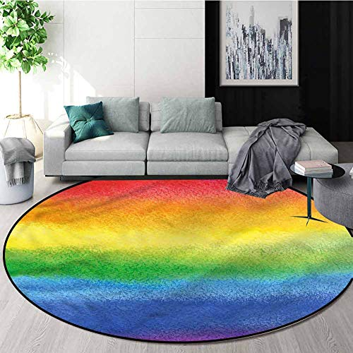 Find Bargain RUGSMAT Rainbow Round Area Rugs Bedroom,Abstract Lines with Brush Pattern Floor Seat Pa...