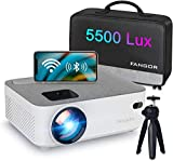 WiFi Projector Bluetooth Projector, FANGOR 5500 Lux Portable Movie Projector Full HD 1080P Supported, Compatible with TV Stick, HDMI, VGA, USB, Laptop, iOS Android Smartphone Projector, Regions Free