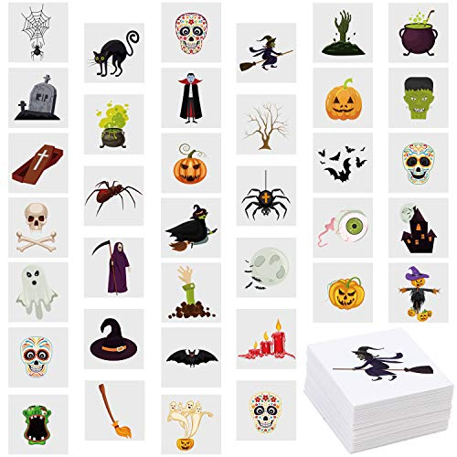 ANECO 144 Pieces Assorted Halloween Temporary Tattoos Waterproof Halloween Theme Tattoos for Trick or Treat Bags Filler Halloween Party Favors, 36 Patterns