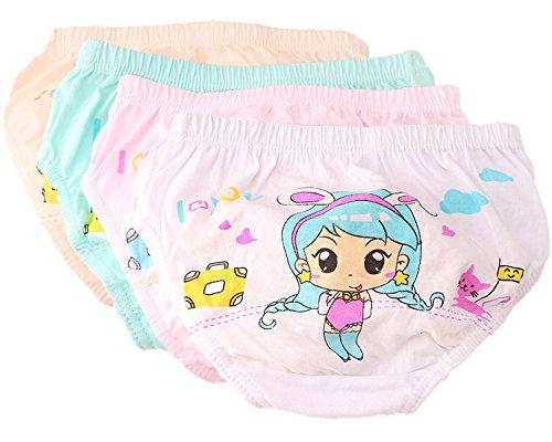 FAIRYRAIN FAIRYRAIN 4 Packung Baby Kleinkind Mädchen Pantys Hipster Shorts Spitze Baumwollunterhosen Unterwäsche 2-4 Jahre