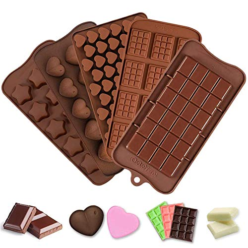 JAHEMU Cioccolato Silicone Stampi Silicone Stampi per Fondente Dolci Stampi Sapone Stampi per Fare Caramelle Cioccolato Focaccina Cupcake 5Pcs