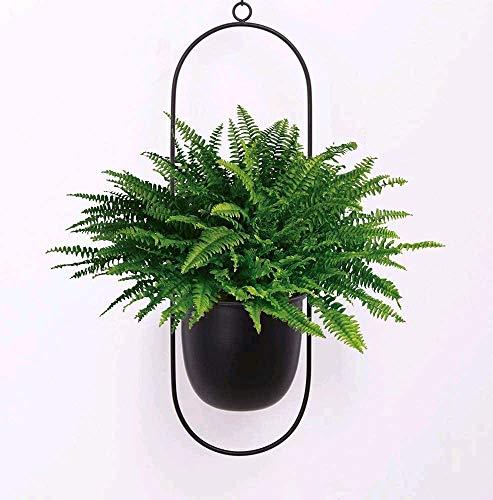 zyeziwhs Schwarzer Metall-Blumentopf zum Aufhängen an der Wand und an der Decke hängender Übertopf, Mitteljahr, minimalistischer Übertopf für Innen- und Außenbereich, Heimdekoration (oval)