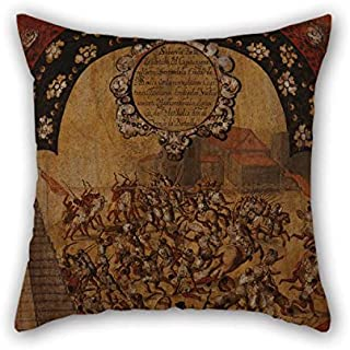 beeyoo Oil Painting Miguel Gonzales - La Conquista De M??xico. Tabla XVI Pillow Shams Best for Office Seat Valentine Gril Friend Bar Festival 18 X 18 Inches / 45 by 45 cm(Double Sides)