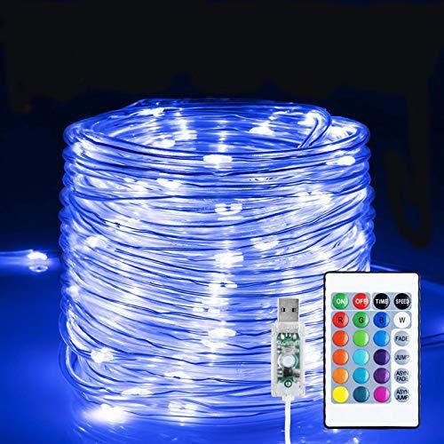 Led Schlauch 5mm, Infankey 10M 100 LED Lichtschlauch mit Fernbedienung &Timer, 16 Farben 4 Modi Led Lichterkette, IP68 Wasserdicht, USB Lichterschlauch für Wohnzimmer, Deko, Party, Feier