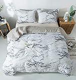 PomCo Marble Comforter Set Queen (90'x90'), 3pcs Soft Lightweight Microfiber Comforter Set-1 Comforter and 2 Pillowcases, Modern Grey Marble Print Bedding Set for Kid, Teen, Men, Women, Boy, Girl