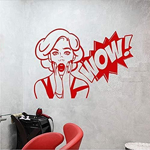 Comic Girl Wow Word Girl Face Vinyl Wall Decal Sticker Decoración para el hogar DIY Art Mural Wallpaper