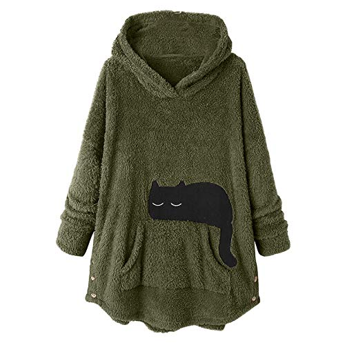 Routinfly Blusa de manga larga informal, sudadera, sudadera, sudadera, suéter, suéter, camiseta para mujer, camiseta para mujer, camiseta, botón, sudadera suelta, talla grande, de felpa gruesa