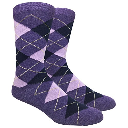 Urban Peacock Men's Argyle Dress Groomsmen Socks (Multiple Colors Available) (Argyle - Purples with Navy & Yellow, 1 Pair)