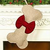 Malier New Linen Large Christmas Stocking for Dogs Cats Pets Jute Natural Burlap Dog Bone Shape...