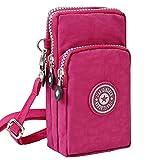 Wocharm Ladies Girls Nylon Design Small Crossbody Shoulder Bag Wristlet Handbags(Deep Red)