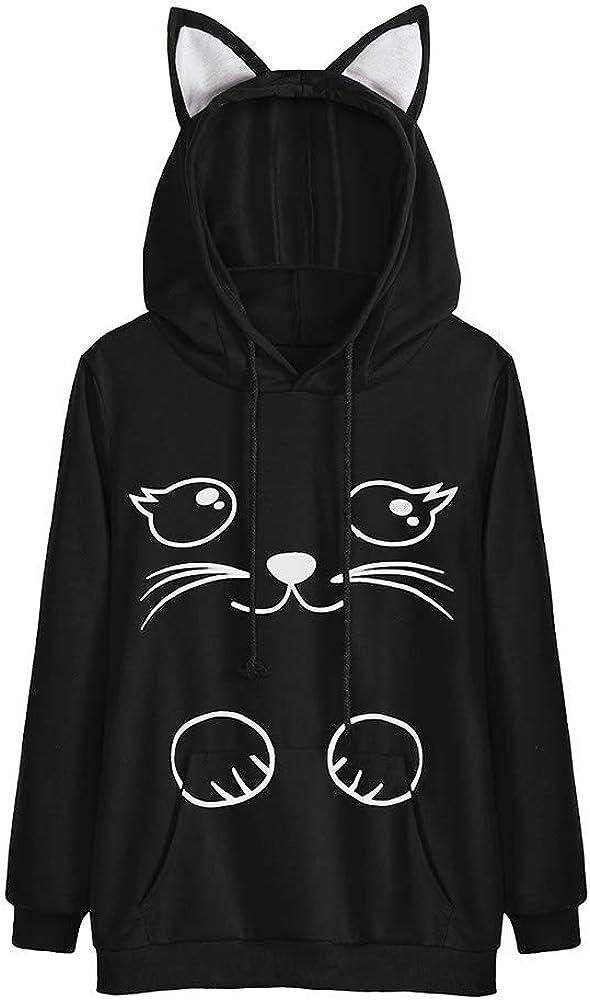 POTO Women's Long Sleeve Sweatshirt Cat Print Casual Pullover Top Hoodies Loose Tee Shirts Teen Girl Junior Cute Croptop