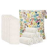 Damero Pañales Liners (12 piezas) con wet bag, Forros Reutilizable para Pañal, Insertos para...