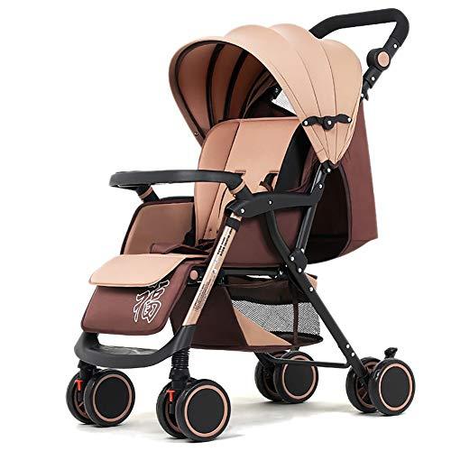 Poussetter Yhz@ Baby, Suspension pour bébé léger Pliable 4 Roues Suspendu Nouveau-né Chariot Poussoir réglable en Hauteur (Couleur : Kaki)