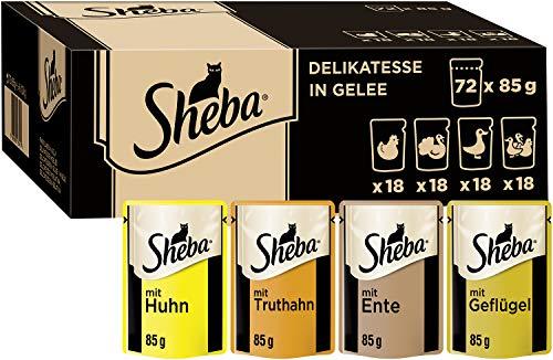 Sheba Delikatesse in Gelee – Hochwertiges Katzen Nassfutter mit feiner Geflügelauswahl – Im praktischen Portionsbeutel – 72 x 85g Alleinfuttermittel