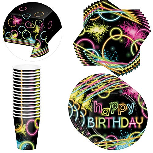 Glow in the Dark Party Supplies - Birthday Party Decorations set for 16 guests- Party Supplies for adults includes Paper Cups, Paper Napkins, Dinner Plates- Birthday Table Covers