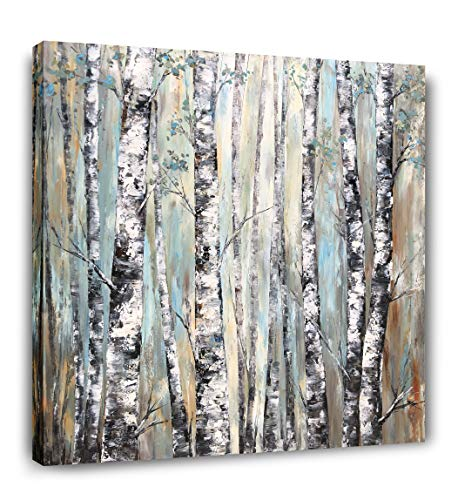 Yihui Arts Large Living Room Wall Decor Abstract Canvas Wall Art Trees White Painting Picture Giclee Print Modern Home Bedroom Ready to Hang (40Wx40L)