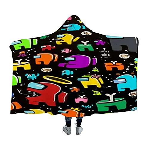 Kgblfd A-mong Us - Manta con capucha suave y cálida para hombres, mujeres, adolescentes, 60 x 80 pulgadas