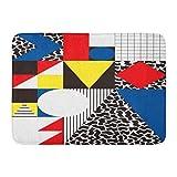 Alfombras de baño Alfombras de baño Alfombrilla de puerta para exterior / interior Colorido Bauhaus Geométrico abstracto en patrón moderno retro Cubismo 80S Alfombra de baño Decoración Alfombra de ba