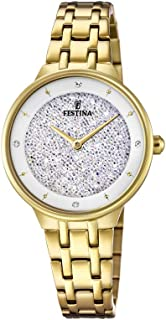 Festina F20383/1 Stainless Steel Stone Embellished Dial Round Analog Watch for Women - Gold