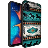 CasesOnDeck Fitted Case Compatible with [Samsung Galaxy A10e / A10e Case] [Embossed Duo] Black Dual Layer Case with Design (Horse Tribal)