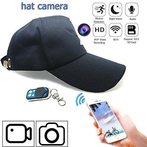 Mini cámara espía WIFI, 1080p HD 8GB Micro cámara grabadora de detector de movimiento con Wearable navyblue color Hat A distancia