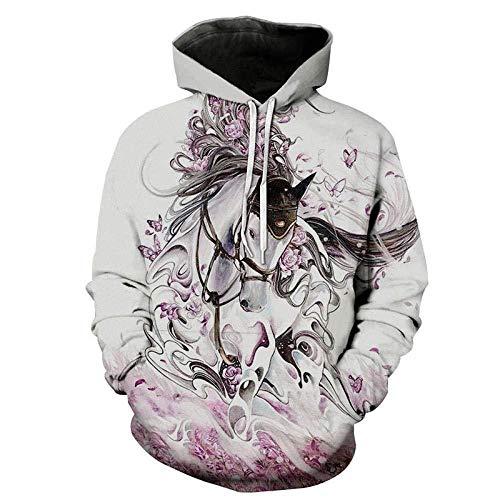 yyqx container 3D Sweatshirt Hoodie Horse Unisex 3D Printed Hoodies Lange mouwen Streetwear Koppels Pullover met Grote Pocket en Trekkoord Unieke Sweatshirts