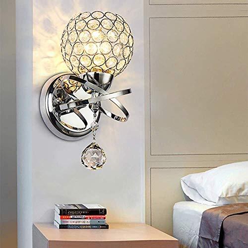 Meixian Wandlamp voor binnen, moderne woonkamer, kristallen lampenkap, ijzeren & kristallen wandlamphouder, E14 fitting, eenvoudig retro