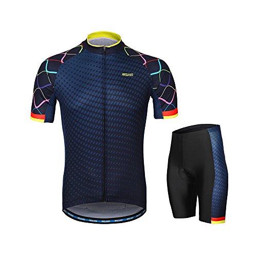 Lixada Herren Radtrikot Set, Atmungsaktiv Quick-Dry Kurzarm Radsport-Shirt + Gel Gepolsterte Shorts, (Typ 3, L)