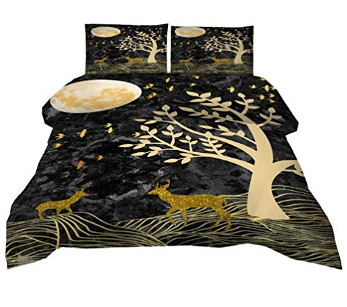 JZZCIDGa Golden Elk 3 Pieces Bedding Set With 2 Pillowcases Cover With Zipper Cover Double Soft 3-Piece Bed Set