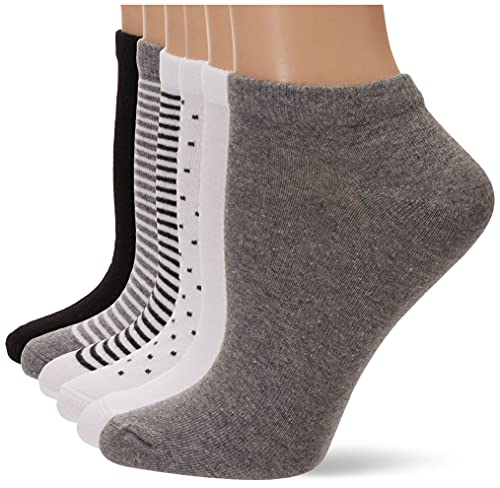 Amazon Essentials 6-Pack Casual Low-Cut novelty-socks, black assorted, 6 to 9