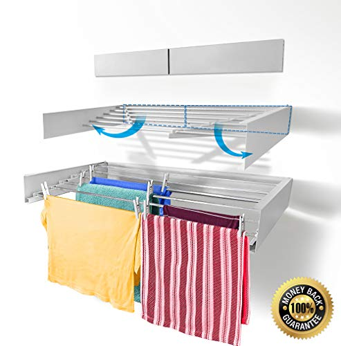 Step Up Laundry Drying Rack - Wall Mounted - Retractable - Clothes Drying Rack Collapsible Folding Indoor or Outdoor – Space Saver Compact Sleek Design, 60lbs Capacity, 20 Linear Ft (White)
