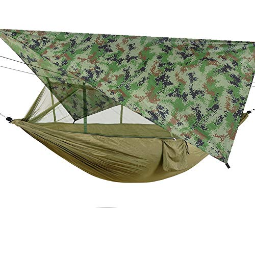 Sucastle Camping Hammock With Zipper Mosquito Net And Tarpaulin Nylon Parachute Ultra Light Hammocks 300kg Load Capacity Breathable Quick Drying Parachute For Camping Hiking Trip Yard (Color : B)