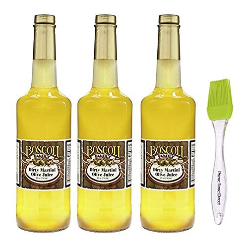 Boscoli Dirty Martini Olive Juice 25 ounce (3 Pack) Bundle with PrimeTime Direct Silicone Basting Brush in a PTD Sealed Box