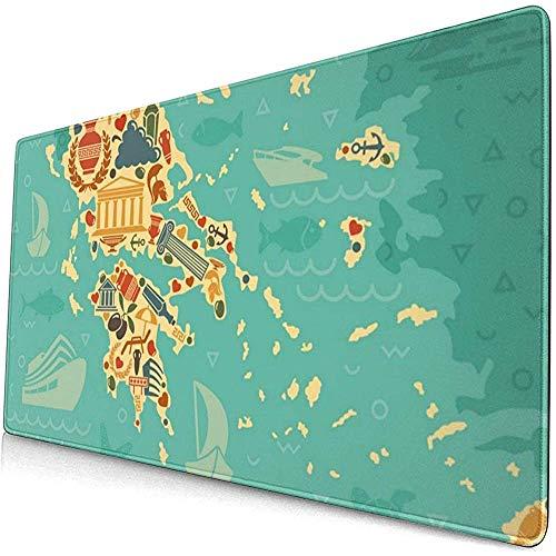 Symbolen van Griekenland in de vorm van de kaart uitgebreide gaming muis pad, dikke grote computer toetsenbord muismat