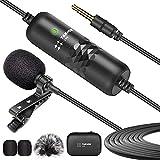 TARION Microfono Lavalier Microfono a condensatore omnidirezionale con risvolto Microfono a clip da 3,5 mm con cavo da 6 metri per interviste Videoconferenza Vlog Live Streaming
