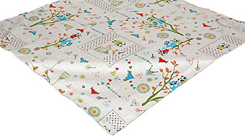 Tischdecken Hossner 110x110 cm Eulen Eulendecke Gufi Türkis Herzen Decke Tischdekoration Herbst Mitteldecke