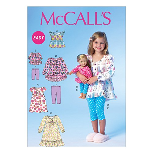 McCall Pattern Company M7043CDD Children's/Girls/18-Inch Doll Tops, Dresses and Leggings Sewing Template, CDD (2-3-4-5)