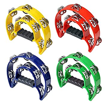 HLMOptimo Double Row Tambourine Half-Moon Musical Tambourine Hand Held for Kids Adults Party KTV 4 colors  9 inch Pack of 4