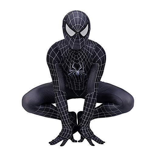 LINLIN Cosplay Traje de Halloween superhroe Spiderman Body Suit Hijos Adultos Negro temtico Apretado Partido del Vestido de Lujo del Mono,Black- Kid L 135~145cm