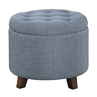 Homelegance Round Storage Accent Ottoman with Button-Tufted, Blue (B01N578G3E) | Amazon price tracker / tracking, Amazon price history charts, Amazon price watches, Amazon price drop alerts