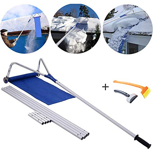 Lowest Price! CJLMN Snow roof rake -Roof Snow Removal Tool 20 feet, Adjustable telescoping Handle, T...