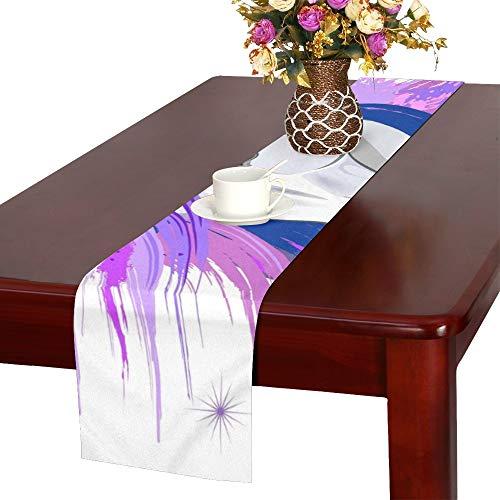 JEOLVP Chemin de Table Mythique Purple Ultraviolet Violet Esprit Rose, Coureur de Table à Manger de Cuisine 16 x 72 Pouces pour Les dîners, événements, décor