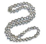 Vifaleno Collar de Perlas Natural de Freshwater, Perlas cultivadas de Agua Dulce, Barroco, Gris, 7-8mm